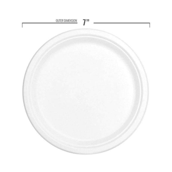 "7"" White Bagasse Eco-Friendly Sugarcane Appetizer/Salad Plates"