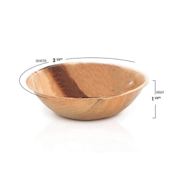 Round Palm Leaf Eco Friendly Mini Disposable Wedding Sauce Bowls