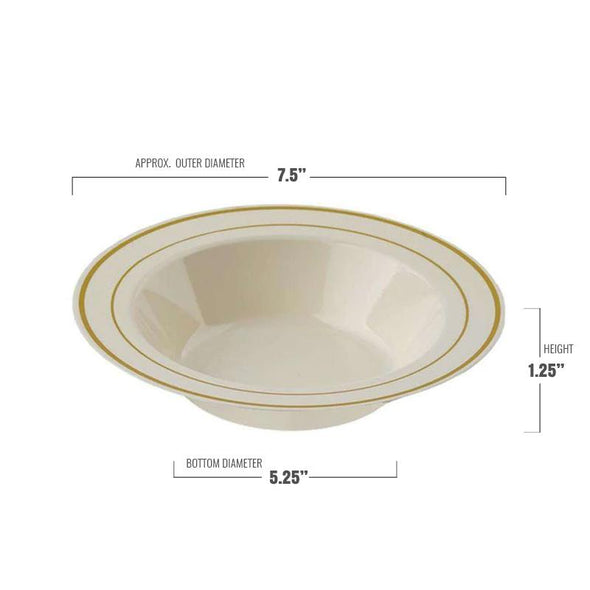 12 oz. Ivory with Gold Edge Rim Plastic Soup Bowls