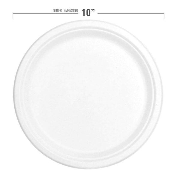 "10"" White Bagasse Eco-Friendly Sugarcane Dinner Plates"