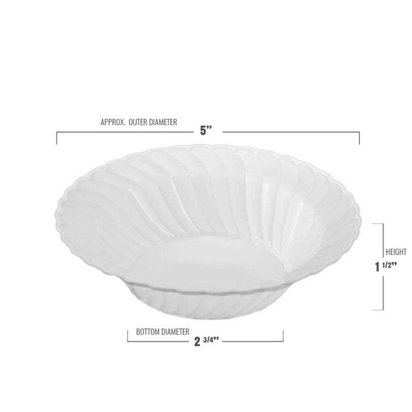 5 oz. White Flair Plastic Dessert Bowls