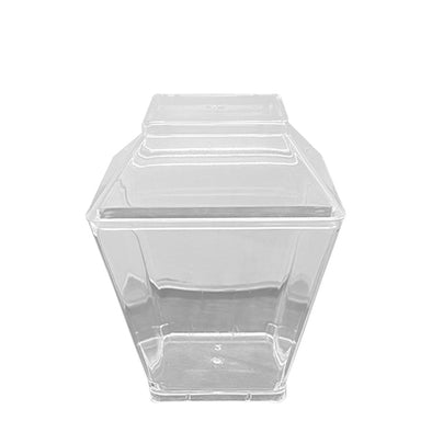 Clear Square Disposable Plastic Mini Cups with Lids