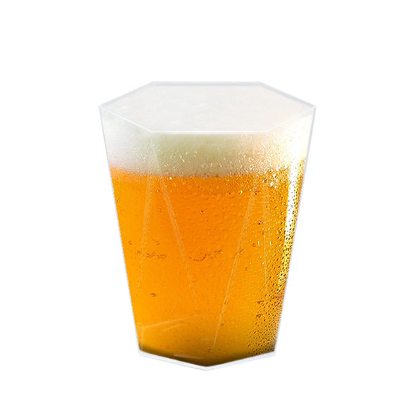 Clear Hexagonal Disposable Plastic Beer Cups