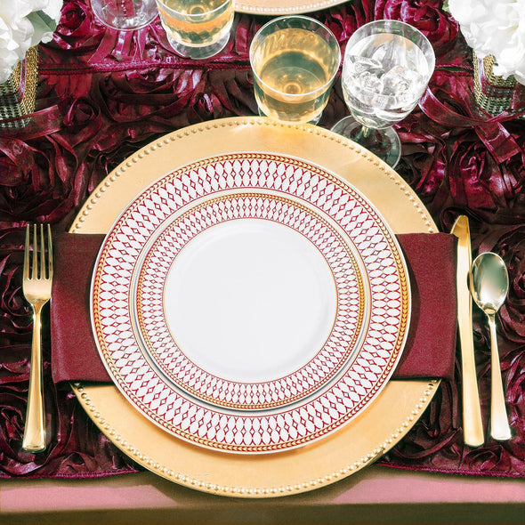 "10.25"" White with Red and Gold Chord Rim Plastic Dinner Plates"