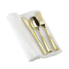 Gold Plastic Cutlery in White Napkin Rolls Set - 10 Napkins, 10 Forks, 10 Knives, 10 Spoons and 10 Paper Rings