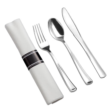Silver Plastic Cutlery in White Napkin Rolls Set - 10 Napkins, 10 Forks, 10 Knives, 10 Spoons and 10 Paper Rings