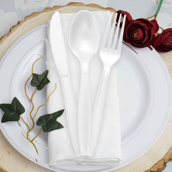 White Plastic Disposable Forks