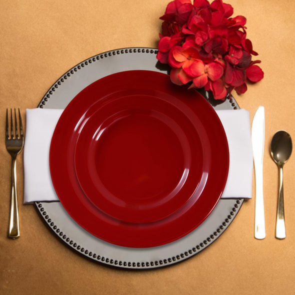 "10.25"" Solid Red Holiday Round Disposable Plastic Dinner Plates"
