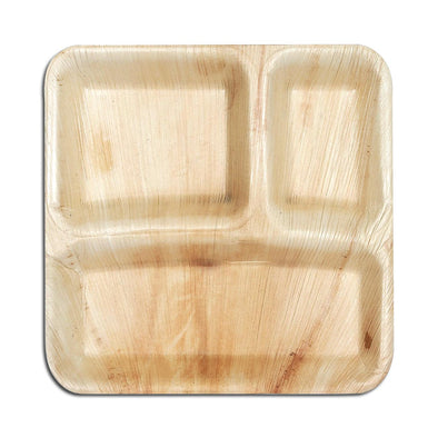 Square Palm Leaf 3-Partition Eco Friendly Disposable Dinner Plates