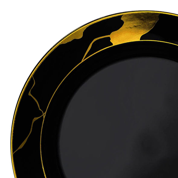 "10"" Black with Gold Marble Disposable Plastic Dinner Plates"