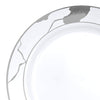 "7.5"" White with Silver Marble Disposable Plastic Appetizer/Salad Plates"