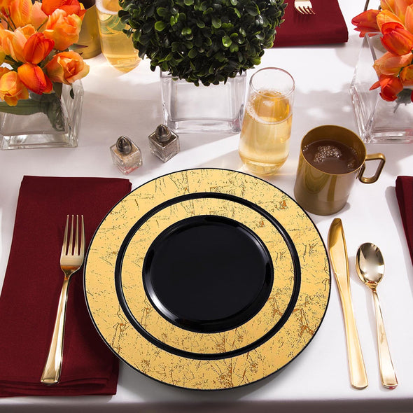 "7.5"" Black with Gold Marble Rim Disposable Plastic Appetizer/Salad Plates"