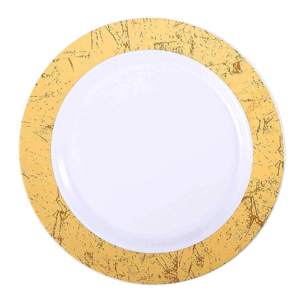 "7.5"" White with Gold Marble Rim Disposable Plastic Appetizer/Salad Plates"