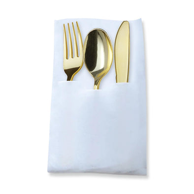 Gold Plastic Cutlery in White Pocket Napkin Set - 7 Napkins, 7 Forks, 7 Knives, and 7 Spoons