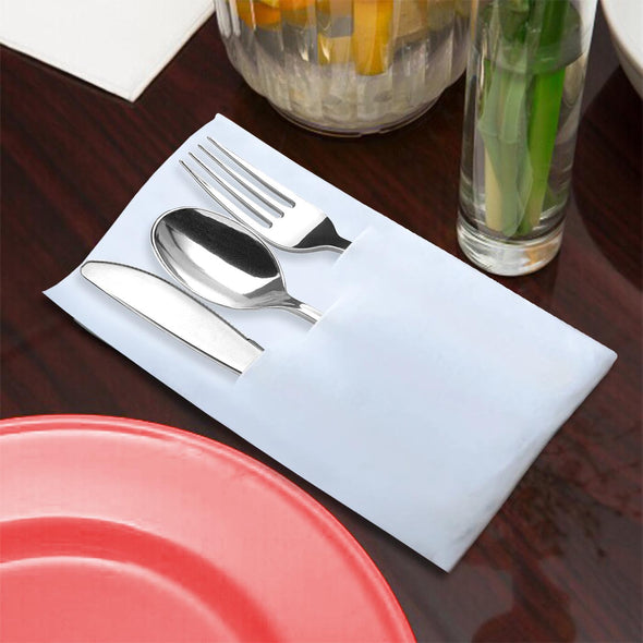 Silver Plastic Cutlery in White Pocket Napkin Set - 7 Napkins, 7 Forks, 7 Knives, and 7 Spoons