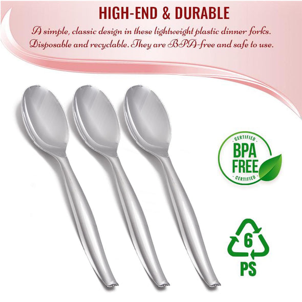 Silver Disposable Plastic Serving Spoons