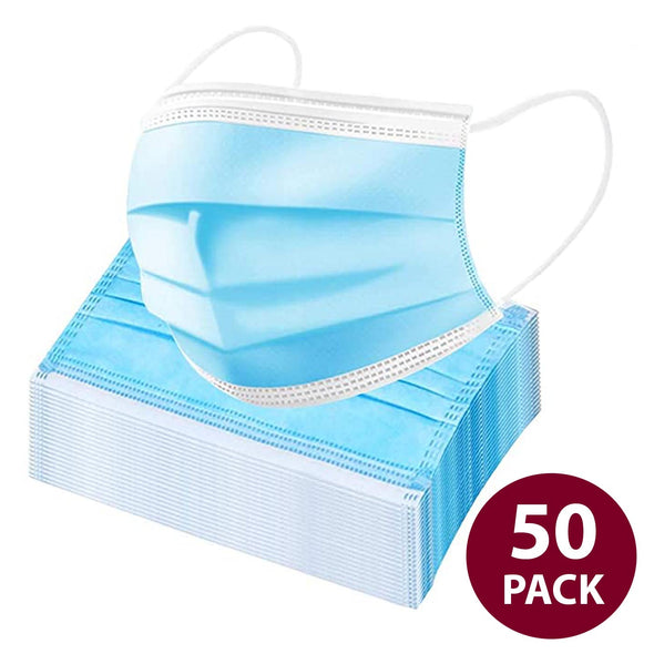 50 pieces 3-Ply Blue Disposable Face Masks with Elastic Ear Loop