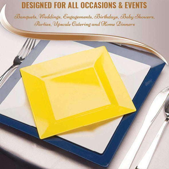 Yellow Square Disposable Plastic Wedding Cake Plates