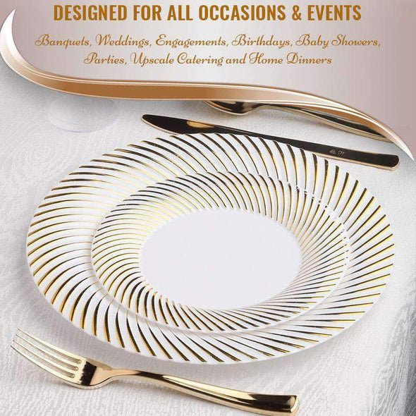 White with Gold Swirl Rim Plastic Appetizer/Salad Plates