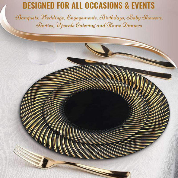 "7.5"" Black with Gold Swirl Rim Plastic Appetizer/Salad Plates"
