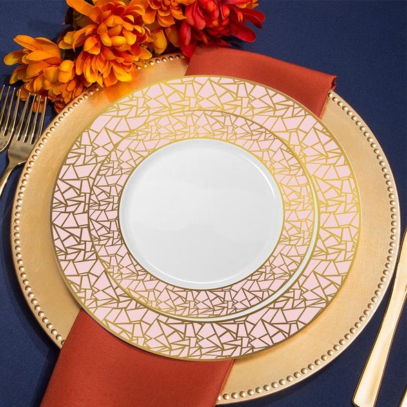 "7.5"" White with Pink and Gold Mosaic Rim Round Plastic Appetizer/Salad Plates"