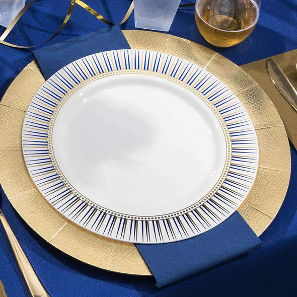 "7.5"" White with Blue and Gold Backgammon Rim Plastic Appetizer/Salad Plates"