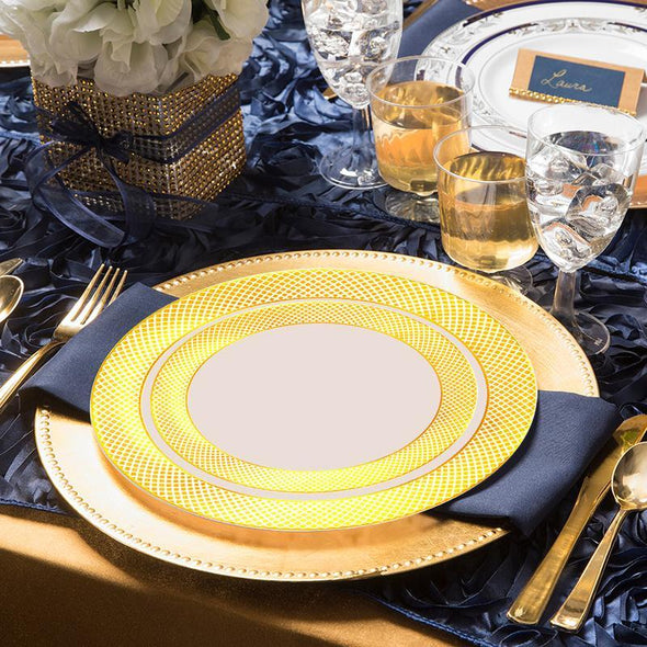 Ivory with Gold Diamond Rim Disposable Wedding Plastic Appetizer/Salad Plates