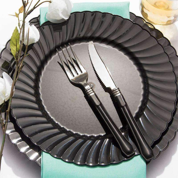 Black Flair Disposable Wedding Plastic Buffet Plates