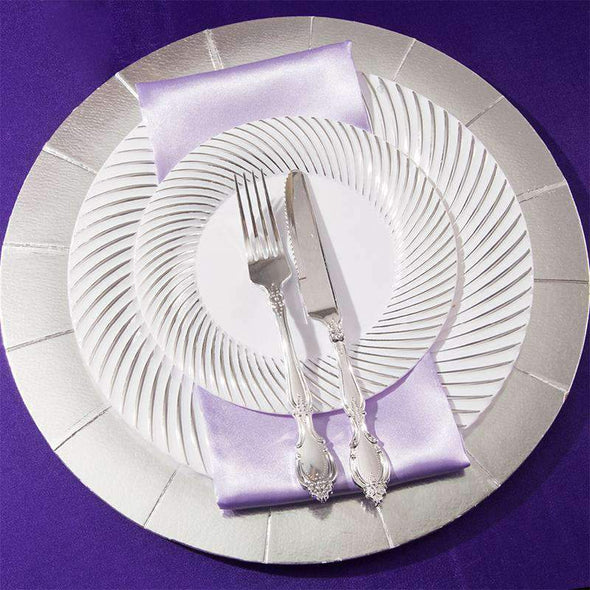 White with Silver Swirl Rim Disposable Wedding Plastic Buffet Plates