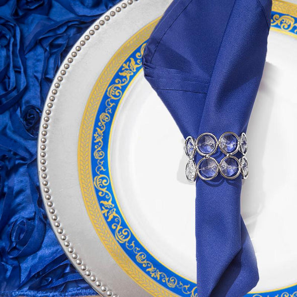 "7.5"" White with Blue and Gold Royal Rim Plastic Appetizer/Salad Plates"