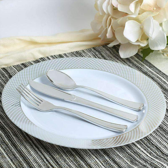 "7.5"" White with Silver Diamond Rim Plastic Appetizer/Salad Plates"