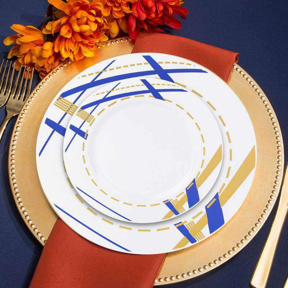 "10.25"" White with Blue and Gold Potpourri Rim Plastic Dinner Plates"