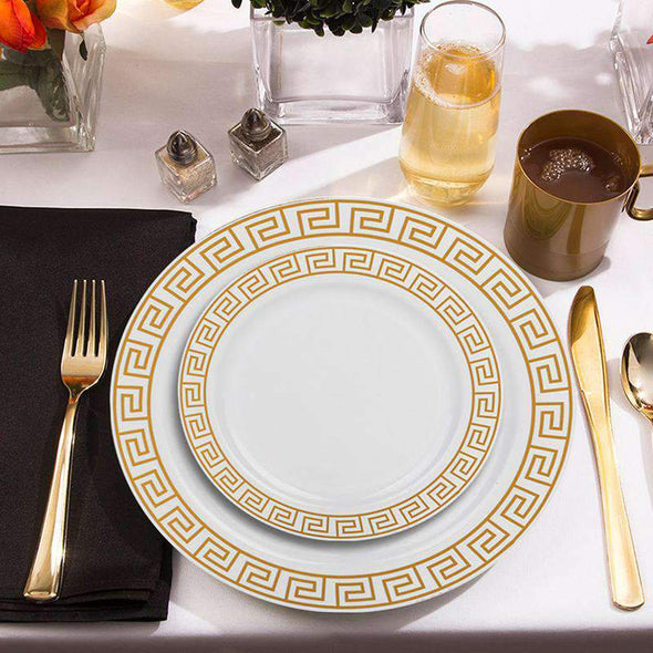 "7.5"" White with Gold Maze Rim Plastic Appetizer/Salad Plates"