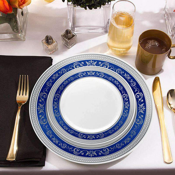 White with Royal Blue and Silver Rim Disposable Wedding Plastic Appetizer/Salad Plates