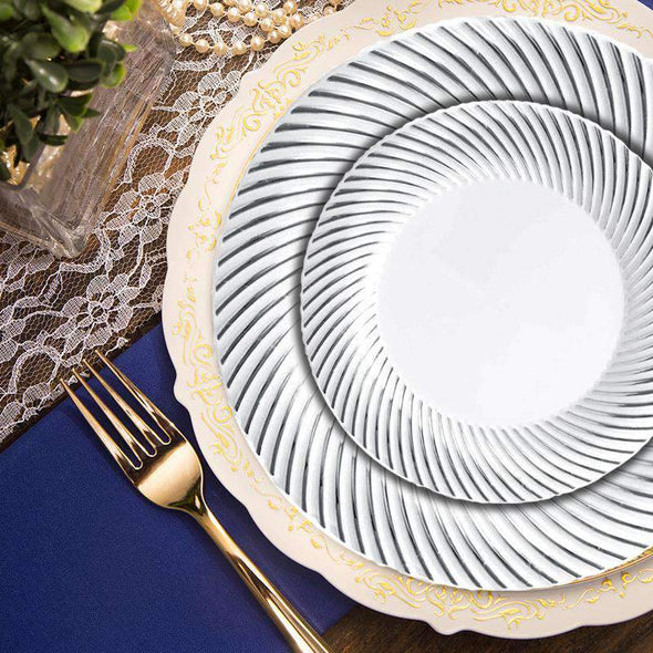 "10.25"" White with Silver Swirl Rim Plastic Dinner Plates"