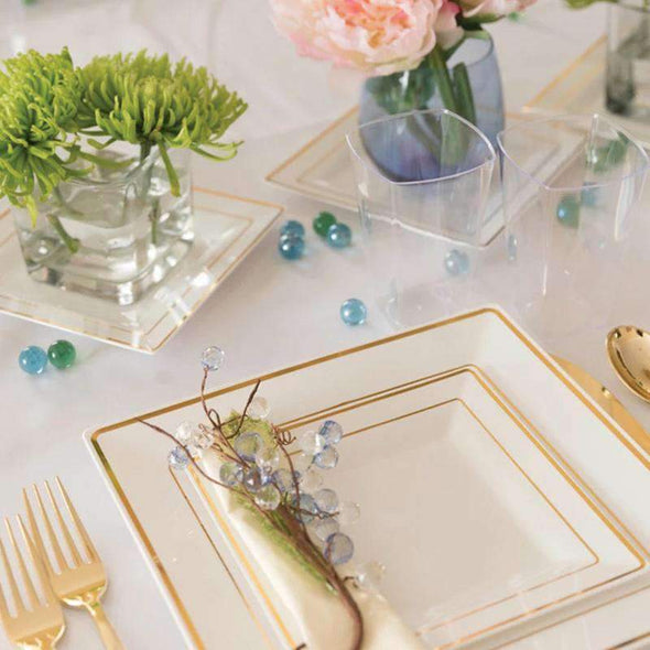 White with Gold Square Edge Rim Disposable Plastic Wedding Appetizer/Salad Plates