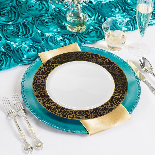 "7.5"" White with Black and Gold Mosaic Rim Round Plastic Appetizer/Salad Plates"