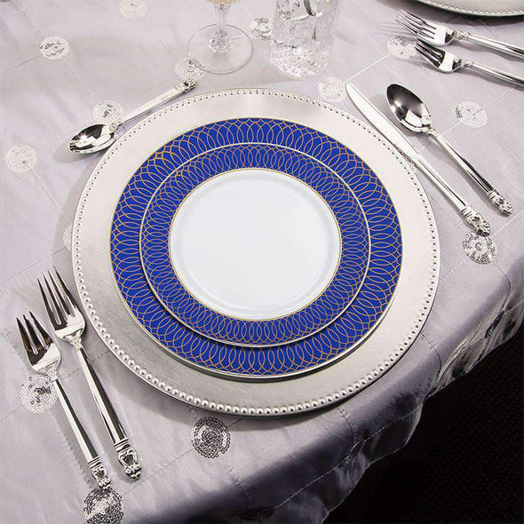 "7.5"" White with Gold Spiral on Blue Rim Plastic Appetizer/Salad Plates"