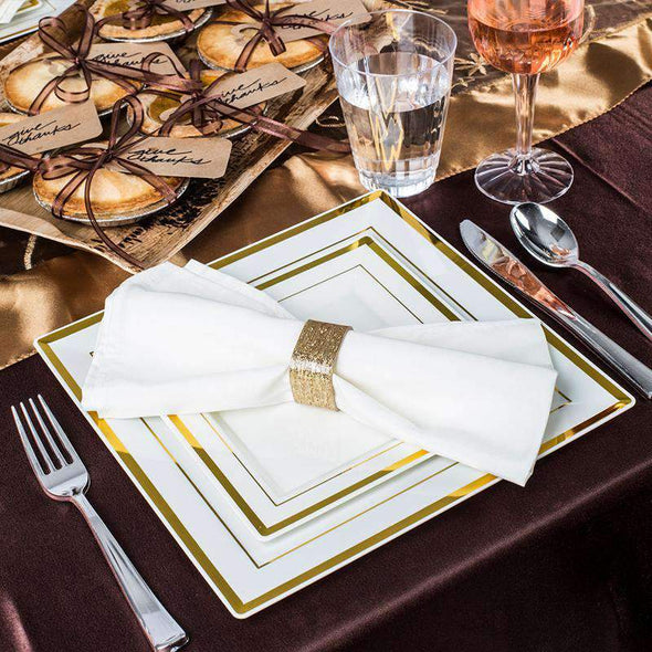 White with Gold Square Edge Rim Disposable  Plastic Wedding Dinner Plates