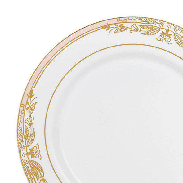 "10.25"" White with Pink and Gold Harmony Rim Plastic Dinner Plates"