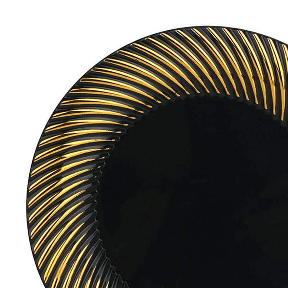 Black with Gold Swirl Rim Disposable Plastic Wedding Appetizer/Salad Plates