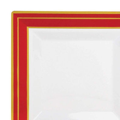 White with Red and Gold Square Edge Rim Disposable Plastic Wedding Appetizer/Salad Plates