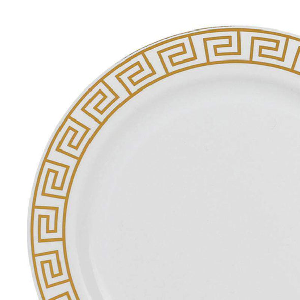 White with Gold Maze Rim Disposable Plastic Wedding Appetizer/Salad Plates