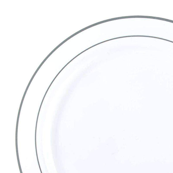 "10.25"" White with Silver Edge Rim Plastic Dinner Plates"