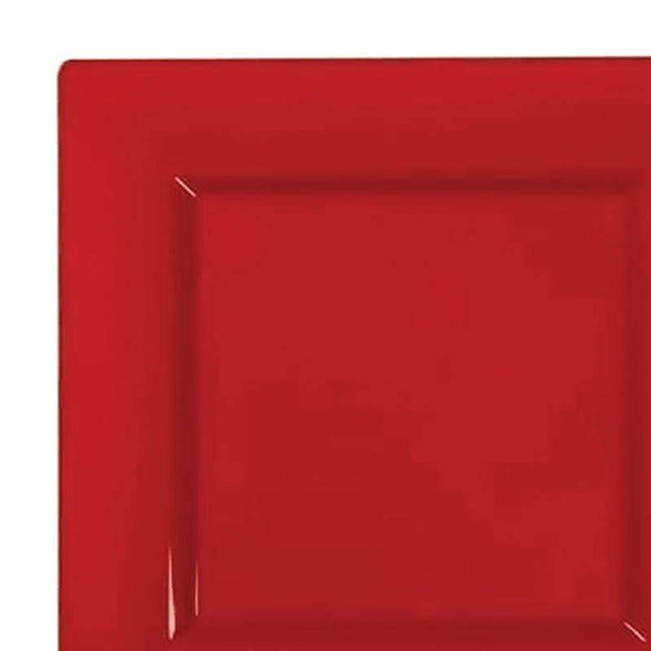 Red Square Disposable  Plastic Wedding Dinner Plates
