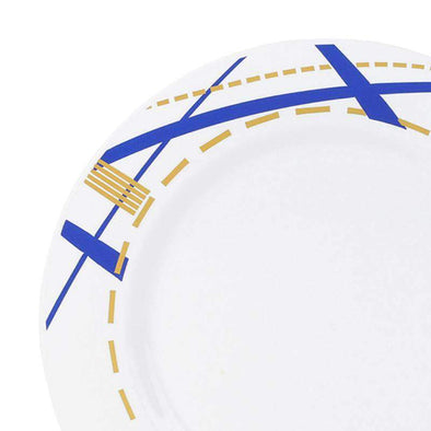 White with Blue and Gold Potpourri Rim Disposable Plastic Wedding Appetizer/Salad Plates