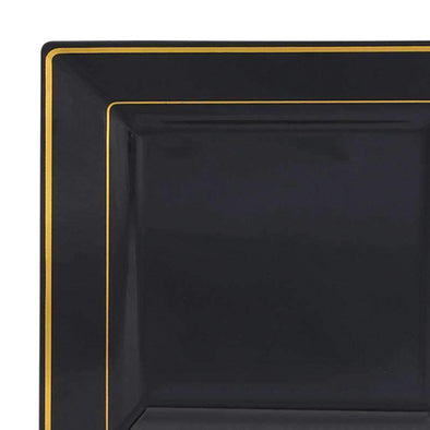 Black with Gold Square Edge Rim Disposable Plastic Wedding Dinner Plates