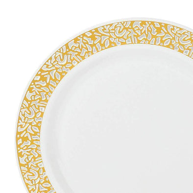White with Gold Lace Rim Disposable Wedding Plastic Appetizer/Salad Plates