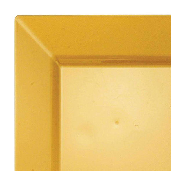 "9.5"" Gold Square Plastic Dinner Plates"