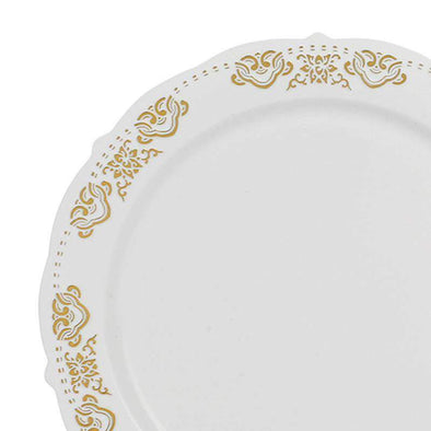 "7.5"" White with Gold Embossed Rim Plastic Appetizer/Salad Plates"